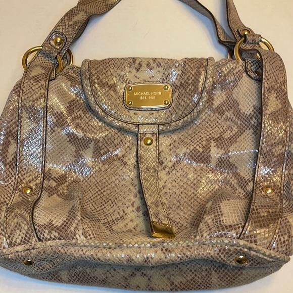 Michael Kors Leather Python Print Bag